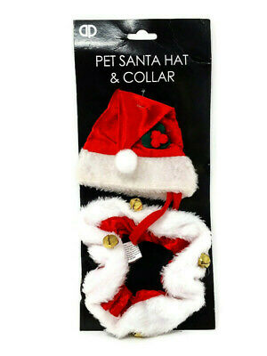 Small Pet Red Santa Hat & Collar With Bells - Christmas Festive Outfit Cat Dog • 4.10£