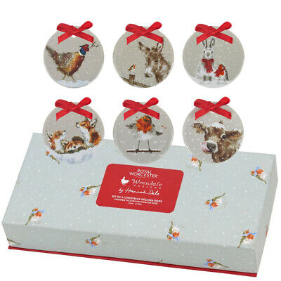 Royal Worcester Wrendale Designs Set Of Six Christmas Tree Decorations (BOXED) • 19.99£