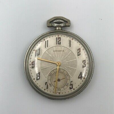 $ CDN264.28 • Buy Vintage Art Deco Longines White Gold Filled Open Face Pocket Watch