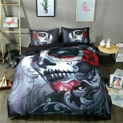 Gothic Skull Tattoo Duvet Cover Quilt Cover Bedding Set With Pillow Cases • 19.99£