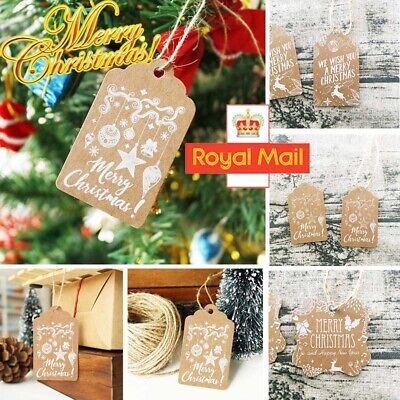 50PC Christmas Kraft Paper Gift Tags Price Wedding Scallop Label Printed Luggage • 3.83£