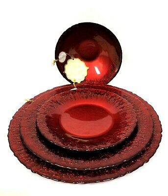 New Set Red Forged Glass Gliter Dinner,salad,bowl,buffet Plate,footed Candy Dish • 49.73£