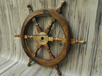 18  Nautical Wooden Ship Steering Wheel Pirate Wood Brass Fishing Wall Décor  • 27.50£