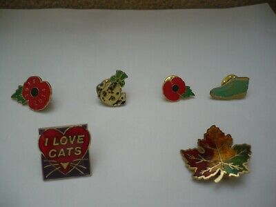 Six Enamel Badges A Fantastic Mixed Lot Poppy's Animals Maple Leaf Boot • 3.95£