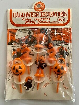 $ CDN33.02 • Buy Vintage Halloween Cup Cake Toppers Witch Pumpkin Cat Scarecrow Original Package
