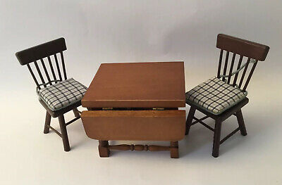 Dolls House Drop Leaf Table And Two Chairs • 3£