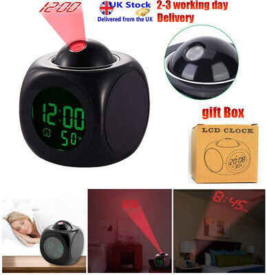 LCD Voice Talking LED Digital Projection Alarm Clock Time Temperature Projector • 8.39£