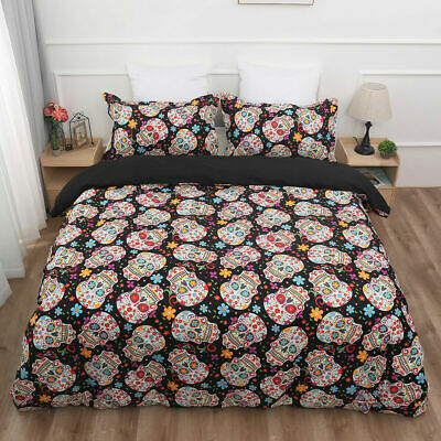 Sugar Skull Duvet Cover With Pillow Cases Bedding Set Single Double King Sizes • 21.99£