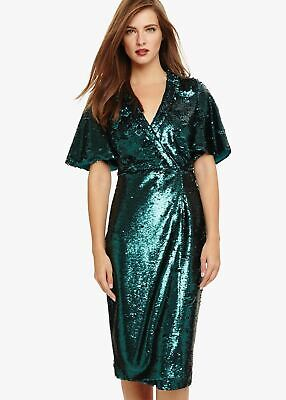 £44.45 • Buy Phase Eight Kyra Sequin Wrap Dress Jade Size UK16 RRP169