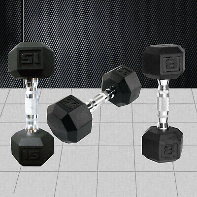 AU89.95 • Buy Hex Rubber Coat Iron Dumbell Home Gym Strength Weight Training Commercial Grade