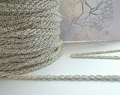 £6.80 • Buy 5 Meter Silver Plated Necklace Chain Welsh Rope Twist Link 2 Mm Jewelry Making