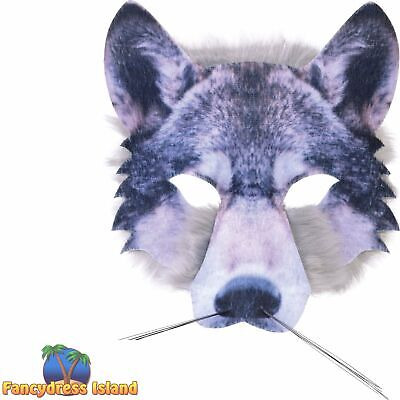 £7.19 • Buy WOLF HALF FACE MASK REALISTIC FUR BOOK WEEK ANIMAL Childs Adults Fancy Dress