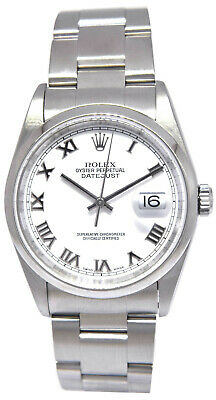 $ CDN7364.21 • Buy Rolex Datejust Stainless Steel White Roman Dial Mens 36mm Watch 16200 Y