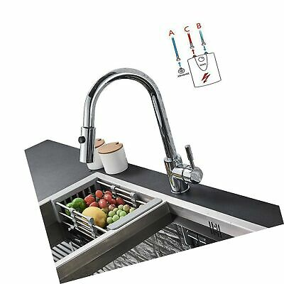 Onyzpily Chrome Low Pressure Tap Kitchen Sink Mixer Tap With Shower Extendible • 210.44£