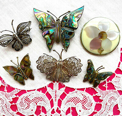 $ CDN60.77 • Buy LOT Of 6 SILVER PINS Butterfles Flower Sterling Abalone Mexico Alpaca Signed EVC