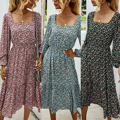 Women's Vintage Square Neck Floral Midi Dress Ladies Casual Long Sleeve Dresses • 17.99£