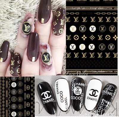 AU6.90 • Buy  Nail Art Decals Stickers Manicure Designer Fashion Luxury Sports Gold Brand New