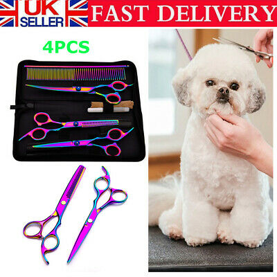 7   Pet Dog Hair Scissors Set Grooming Cutting Thinning Curved Shears Comb Kit • 13.98£