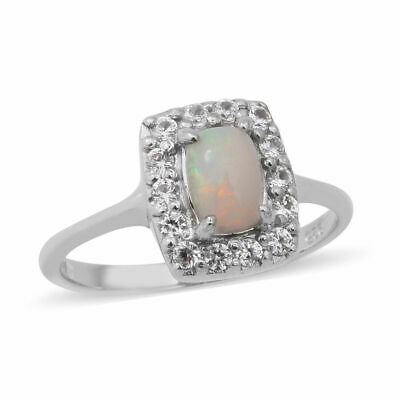 Opal And Zircon Halo Ring In Silver 1.23 Ct. Size K • 26.99£