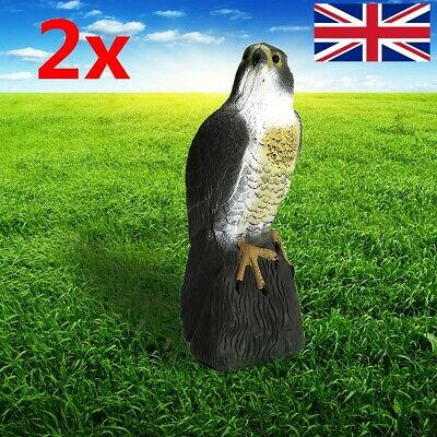 2x Fake Eagle Hawk Hunting Decoy Garden Patio Statues Ornaments Outdoor Decor UK • 22.79£