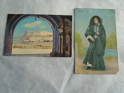 2 Postcards:Malta-Fort St.Angelo 1969/Maltese Lady.Pre-1914 • 0.99£