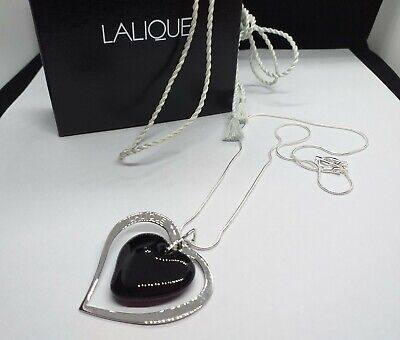 Lalique  Large Heart Pendant Encased In Sterling Silver Heart Within A Heart • 195£