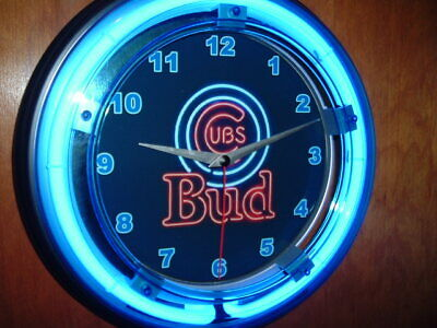 $ CDN101.65 • Buy ^Budweiser Bud Chicago Cubs Beer Bar Advertising Man Cave Neon Clock Sign