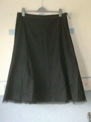 Ladies Skirt Size L Appx 18/20 Black Floral/embroidery/net *iz* • 5.50£
