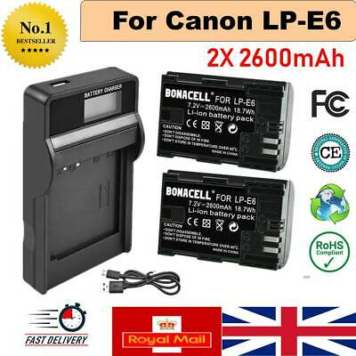 2X 2600mAh LP-E6 Battery + LCD Charger For Canon EOS 5DS R 5D Mark II Mark III • 18.59£