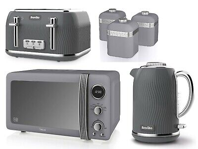 £259.99 • Buy Swan Retro Microwave & Canisters Breville Jug Kettle Four Slice Toaster Set GREY