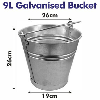 9l Traditional Galvanised Strong Steel Metal Small Bucket With Handle Planter Tu • 5.95£