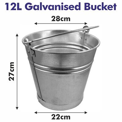 12l Traditional Galvanised Strong Steel Metal Small Bucket With Handle Planter • 6.49£