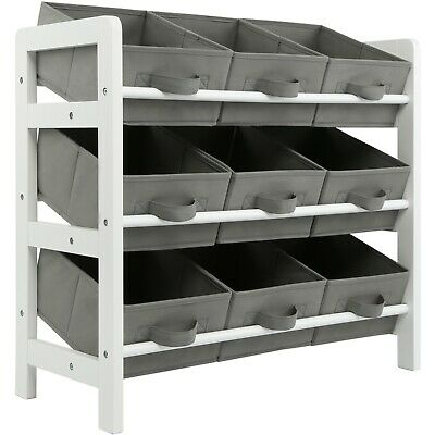 3 Tier Toy Storage Unit 9 Boxes Drawers Childrens Shelf Kids Bedroom Play Grey • 29.99£