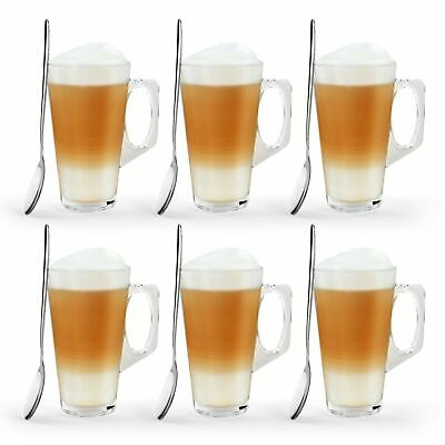 6 Latte Coffee Glasses & Spoons Cappuccino Lattes Tea Glass Cups Hot Drink Mugs • 7.95£