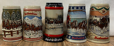 $ CDN98 • Buy (5) Vintage Budweiser Holiday Steins Ceramarte 1980's & 90's