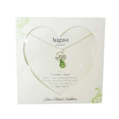 £8.29 • Buy Guardian Angel August Birthstone Necklace With Gem Stone Sentimental Gift Idea