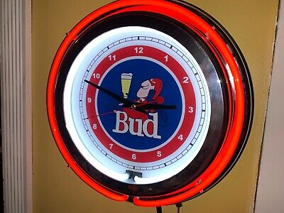 $ CDN195.51 • Buy *Bud Man Budweiser Beer Bar Man Cave Neon Clock Sign