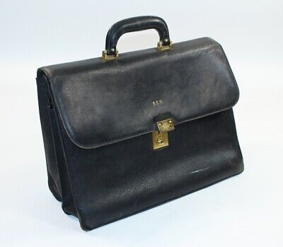 $34.65 • Buy Bally Leather Italian Italy Combination Doctor's Black Overnight Briefcase Bag