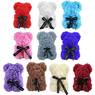 AU16.23 • Buy Artificial Flower Rose Bear Doll Valentine Day Christmas Gift Wedding Decor HOT