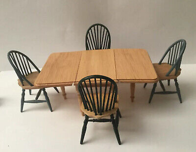 Dolls House Drop Leaf Table And Four Chairs • 3£