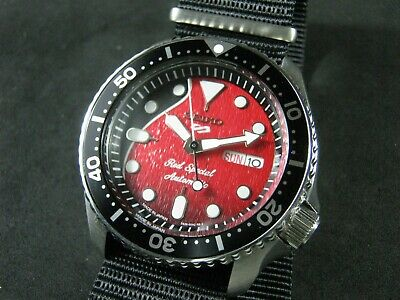 $ CDN385.46 • Buy SEIKO SKX007 Mod ' Red Special Brian May' NH36 Hack Winding Movement Water Proof