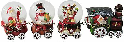 Snow Globe Train With Snowman, Santa And Reindeer  Christmas Decoration XM607 • 15.98£