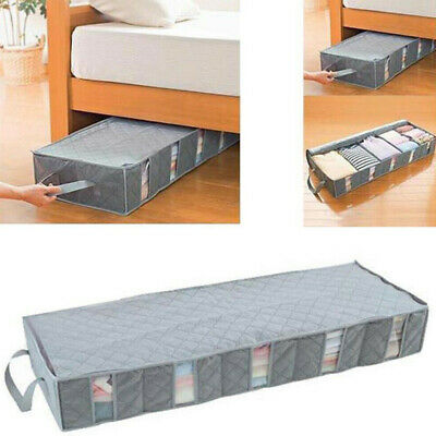 New Large Capacity Under Bed Storage Bag Box 5 Compartments Clothes Organizer UK • 13.94£