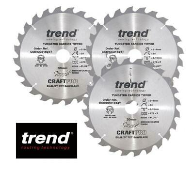 £24.99 • Buy Trend Craft Pro Csb/cc21624 216mm 24 Tooth Thin Kerf Blade X 3 New