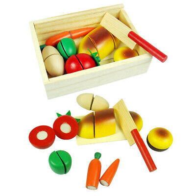 Kids Wooden Play Food Chopping Toy Set Melissa And Doug Cutting Fruits Toy Hot • 9.42£
