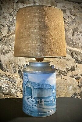 $35 • Buy Farmhouse Country Golden Harvest Milk Can Vintage Table Lamp