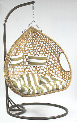 £379.99 • Buy Double Garden Hanging Chair Hammocks Swing Egg Chair With Bown Frame And Stand