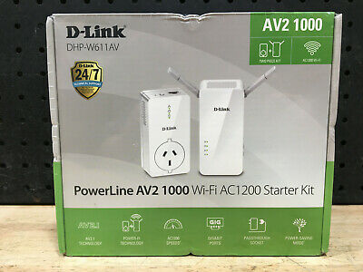 AU229 • Buy D-link Powerline Av2 1000 Wi-fi Ac1200 Starter Kit Dhp-w611av - New
