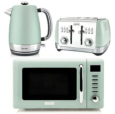 Breville Strata Electric Kettle & 4 Slice Toaster Set With Microwave Haden GREEN • 239.99£