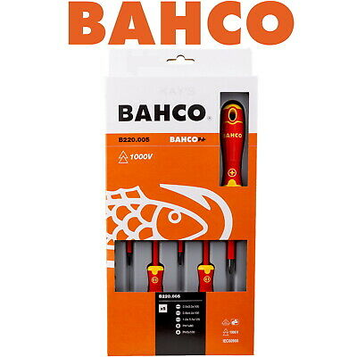 Bahco Screwdriver Set 5 Piece Slotted & Phillips Ph Vde 1000v Insulated B220.005 • 21.84£